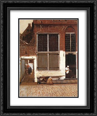 The Little Street [detail: 3] 20x24 Black or Gold Ornate Framed and Double Matted Art Print by Johannes Vermeer