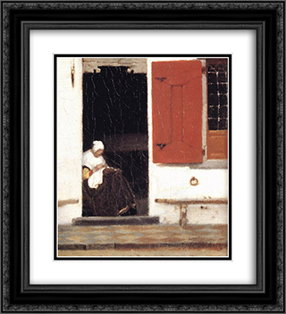 The Little Street [detail: 4] 20x22 Black or Gold Ornate Framed and Double Matted Art Print by Johannes Vermeer