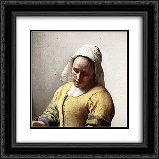 The Milkmaid [detail: 1] 20x20 Black or Gold Ornate Framed and Double Matted Art Print by Johannes Vermeer