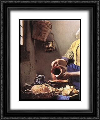 The Milkmaid [detail: 2] 20x24 Black or Gold Ornate Framed and Double Matted Art Print by Johannes Vermeer