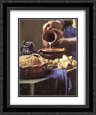 The Milkmaid [detail: 3] 20x24 Black or Gold Ornate Framed and Double Matted Art Print by Johannes Vermeer