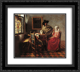 A Lady Drinking and a Gentleman 22x20 Black or Gold Ornate Framed and Double Matted Art Print by Johannes Vermeer