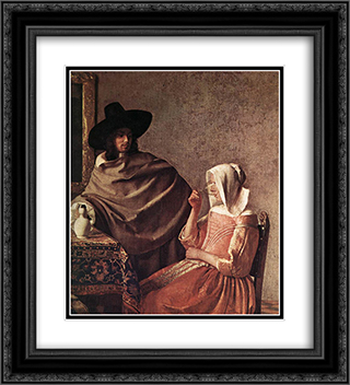 A Lady Drinking and a Gentleman [detail: 1] 20x22 Black or Gold Ornate Framed and Double Matted Art Print by Johannes Vermeer