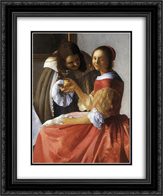 A Lady and Two Gentlemen [detail: 1] 20x24 Black or Gold Ornate Framed and Double Matted Art Print by Johannes Vermeer