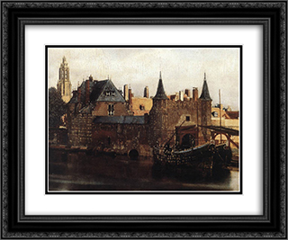 View of Delft [detail: 1] 24x20 Black or Gold Ornate Framed and Double Matted Art Print by Johannes Vermeer