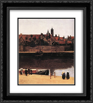 View of Delft [detail: 2] 20x22 Black or Gold Ornate Framed and Double Matted Art Print by Johannes Vermeer