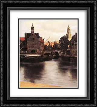 View of Delft [detail: 3] 20x22 Black or Gold Ornate Framed and Double Matted Art Print by Johannes Vermeer