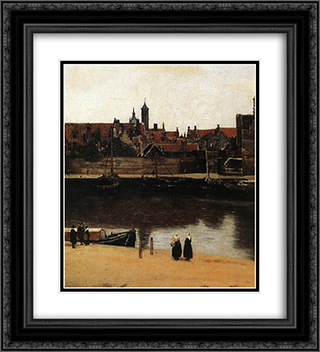 View of Delft [detail: 4] 20x22 Black or Gold Ornate Framed and Double Matted Art Print by Johannes Vermeer
