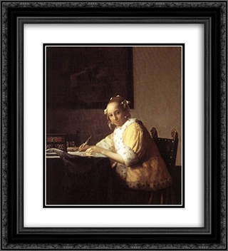 A Lady Writing a Letter 20x22 Black or Gold Ornate Framed and Double Matted Art Print by Johannes Vermeer