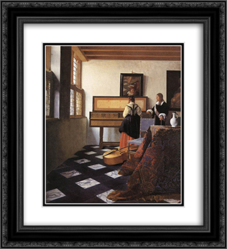 A Lady at the Virginals with a Gentleman 20x22 Black or Gold Ornate Framed and Double Matted Art Print by Johannes Vermeer