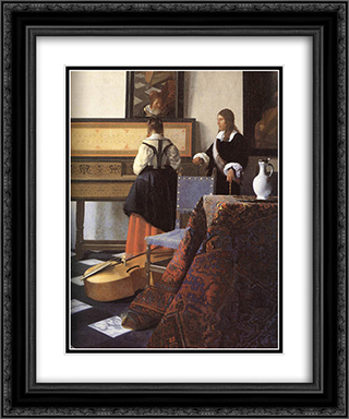 A Lady at the Virginals with a Gentleman [detail: 1] 20x24 Black or Gold Ornate Framed and Double Matted Art Print by Johannes Vermeer