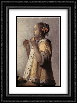 Woman with a Pearl Necklace [detail: 1] 18x24 Black or Gold Ornate Framed and Double Matted Art Print by Johannes Vermeer