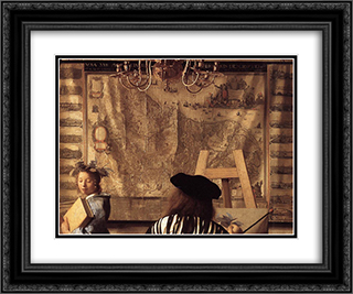 The Art of Painting [detail: 1] 24x20 Black or Gold Ornate Framed and Double Matted Art Print by Johannes Vermeer
