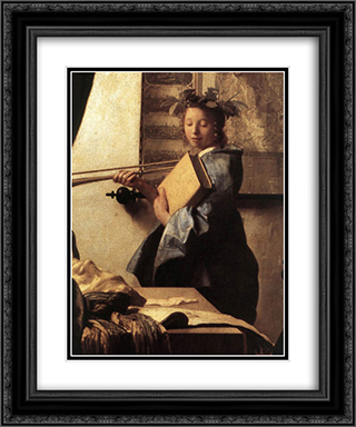 The Art of Painting [detail: 2] 20x24 Black or Gold Ornate Framed and Double Matted Art Print by Johannes Vermeer