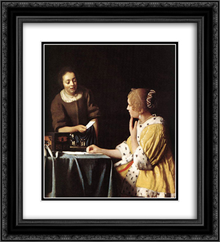 Lady with Her Maidservant Holding a Letter 20x22 Black or Gold Ornate Framed and Double Matted Art Print by Johannes Vermeer