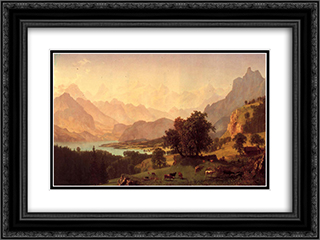 Bernese Alps 24x18 Black or Gold Ornate Framed and Double Matted Art Print by Albert Bierstadt