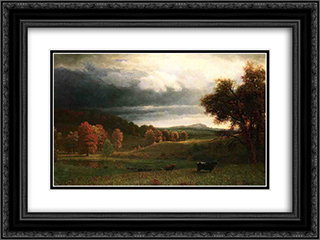 Autumn Landscape: The Catskills 24x18 Black or Gold Ornate Framed and Double Matted Art Print by Albert Bierstadt