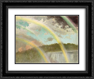 Four Rainbows over Niagara Falls 24x20 Black or Gold Ornate Framed and Double Matted Art Print by Albert Bierstadt