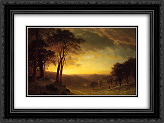 Sacramento River Valley 24x18 Black or Gold Ornate Framed and Double Matted Art Print by Albert Bierstadt