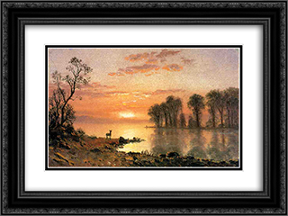 Sunset 24x18 Black or Gold Ornate Framed and Double Matted Art Print by Albert Bierstadt