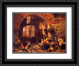 The Portico of Octavia 24x20 Black or Gold Ornate Framed and Double Matted Art Print by Albert Bierstadt
