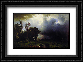 Buffalo Trail 24x18 Black or Gold Ornate Framed and Double Matted Art Print by Albert Bierstadt