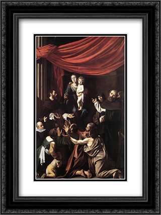 Madonna del Rosario 18x24 Black or Gold Ornate Framed and Double Matted Art Print by Caravaggio