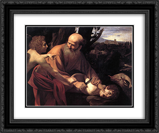 The Sacrifice of Isaac 24x20 Black or Gold Ornate Framed and Double Matted Art Print by Caravaggio