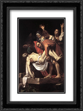 The Entombment 18x24 Black or Gold Ornate Framed and Double Matted Art Print by Caravaggio