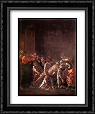 The Raising of Lazarus 20x24 Black or Gold Ornate Framed and Double Matted Art Print by Caravaggio