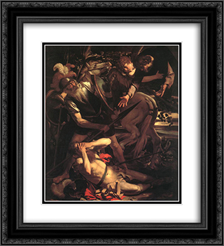The Conversion of St. Paul 20x22 Black or Gold Ornate Framed and Double Matted Art Print by Caravaggio