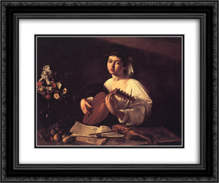 Lute Player 24x20 Black or Gold Ornate Framed and Double Matted Art Print by Caravaggio