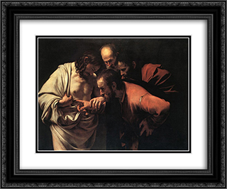 The Incredulity of Saint Thomas 24x20 Black or Gold Ornate Framed and Double Matted Art Print by Caravaggio