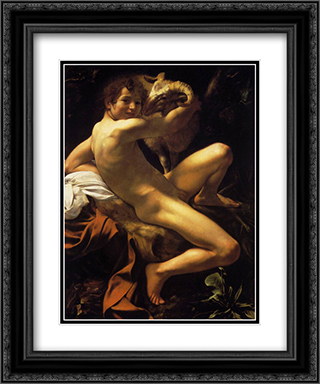 St. John the Baptist 20x24 Black or Gold Ornate Framed and Double Matted Art Print by Caravaggio