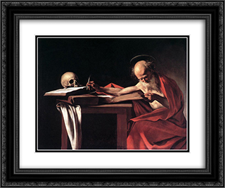 St. Jerome 24x20 Black or Gold Ornate Framed and Double Matted Art Print by Caravaggio