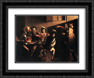 The Calling of St. Matthew 24x20 Black or Gold Ornate Framed and Double Matted Art Print by Caravaggio