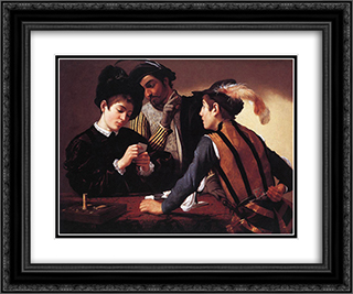 The Cardsharps 24x20 Black or Gold Ornate Framed and Double Matted Art Print by Caravaggio