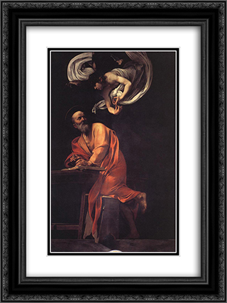 The Inspiration of Saint Matthew 18x24 Black or Gold Ornate Framed and Double Matted Art Print by Caravaggio