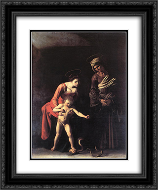 Madonna with the Serpent 20x24 Black or Gold Ornate Framed and Double Matted Art Print by Caravaggio