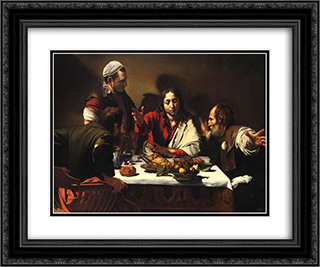 The Supper at Emmaus 24x20 Black or Gold Ornate Framed and Double Matted Art Print by Caravaggio