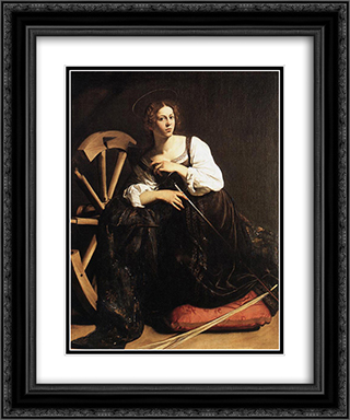 St. Catherine of Alexandria 20x24 Black or Gold Ornate Framed and Double Matted Art Print by Caravaggio