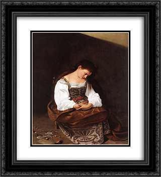 Magdalene 20x22 Black or Gold Ornate Framed and Double Matted Art Print by Caravaggio