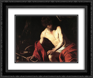 St. John the Baptist 24x20 Black or Gold Ornate Framed and Double Matted Art Print by Caravaggio