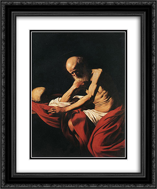 St. Jerome 20x24 Black or Gold Ornate Framed and Double Matted Art Print by Caravaggio