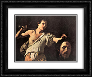 David 24x20 Black or Gold Ornate Framed and Double Matted Art Print by Caravaggio