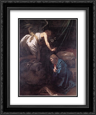 The Annunciation 20x24 Black or Gold Ornate Framed and Double Matted Art Print by Caravaggio