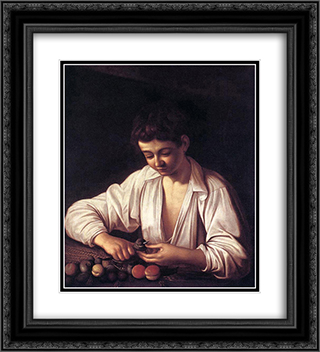 Boy Peeling a Fruit 20x22 Black or Gold Ornate Framed and Double Matted Art Print by Caravaggio