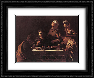 Supper at Emmaus 24x20 Black or Gold Ornate Framed and Double Matted Art Print by Caravaggio