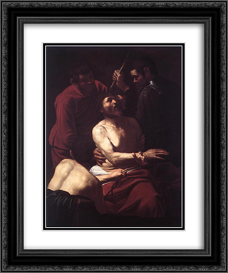 The Crowning with Thorns 20x24 Black or Gold Ornate Framed and Double Matted Art Print by Caravaggio