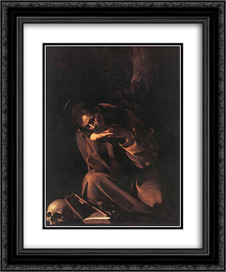 St. Francis 20x24 Black or Gold Ornate Framed and Double Matted Art Print by Caravaggio